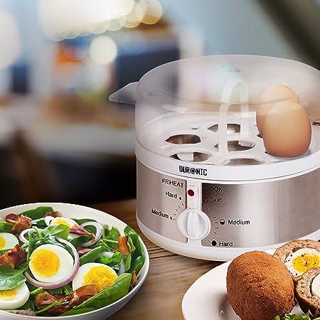 Duronic EB35 Cuiseur à œufs – de 1 à 7 œufs – Thermostat et minuteur pour obtenir œufs durs/mollets/à la coque avec fonction dédiée pour préparer deux types de cuisson