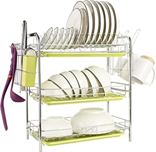 Maypott Dish Drying Rack 3-Tier Chrome Dish Drainer Rack - Stainless Steel Dish Rack with Drain Board and Cutlery Cup for Kitchen (16.5 x 9.4 x 18.7 In)