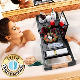 Your Majesty Premium Black Bamboo Bathtub Caddy Tray [with Mirror] 1-2 Adults Expandable Bath Tray, Beautiful Gift Box, Fits Any Tub - Holds Book, Wine, Phone, Ipad, Laptop - Bathroom Door Hanger