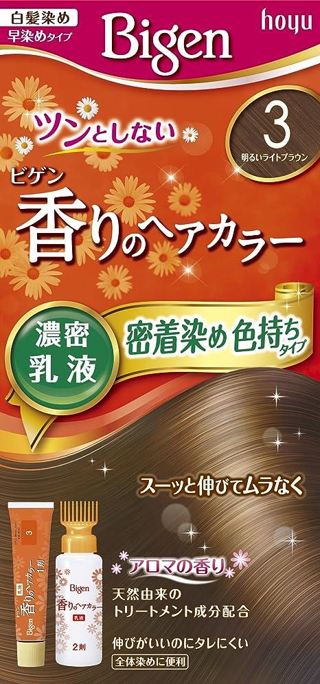 木材こっそり緊張するホーユー ビゲン香りのヘアカラー乳液3 (明るいライトブラウン) 1剤40g+2剤60mL [医薬部外品]