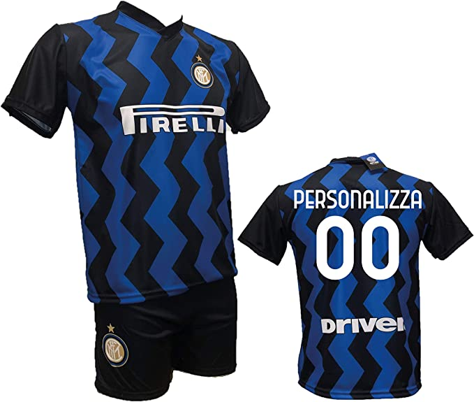 Completo Calcio Maglia Inter Personalizzabile Pantaloncino Replica Autorizzata 2020-2021 Bambino (Taglie 2 4 6 8 10 12) Adulto (SML XL)
