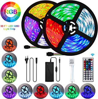 UTTORA 10M Tira LED, Tiras LED RGB 5050 12V con 300 LEDs, Iluminación de ambiente,Impermeable IP65, Control Remoto de 44 Teclas para Decoración de Casa, Jardín, Fiesta, etc. (10M)
