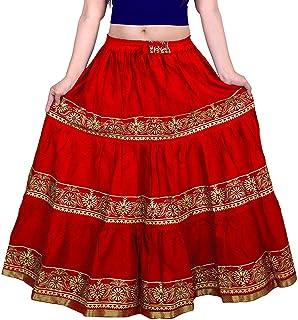 DIAMO Rajasthani Jaipuri Traditional Ethnic Flared Gold Print Long Skirt Elastic with Knote Free Size