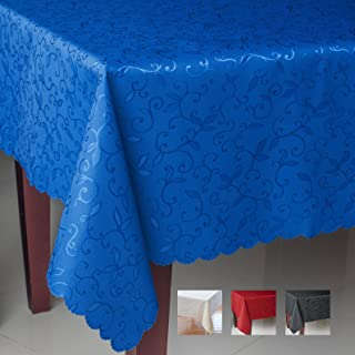Turkish Square BLUE Tablecloth Polyester Table Cover - Stain Resistant Wrinkle free Non-Iron Dust-proof Oblong Square Round – Table linen for Thanksgiving Christmas Easter Gift (BLUE, Square 60