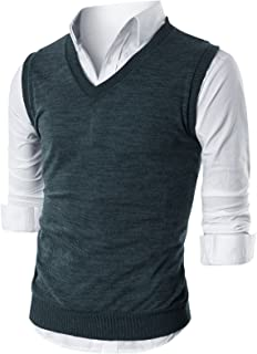 Mens Slim Fit Casual V-Neck Knit Vest