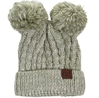 ScarvesMe Women Ribbed Knitted Double Pom Pom Beanie Hat