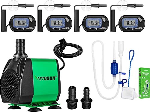 high quality VIVOSUN 4-Pack LCD Digital Aquarium Thermometer, 800GPH Submersible Pump, Aquarium popular Gravel Cleaner discount Siphon outlet sale