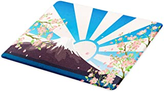 Lunarable Asian Cutting Board, Mountain Lake View Oriental Art Cherry Tree Snow Hill Nature Painting Effect, Decorative Tempered Glass Cutting and Serving Board, Small Size, Peach Blue Mauve