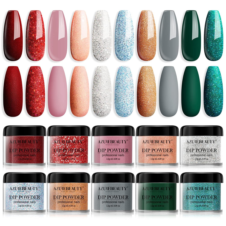 Dip Powder Nail Set AZUREBEAUTY Rhinestones Colors Glitter Detroit Sale item Mall 10 D