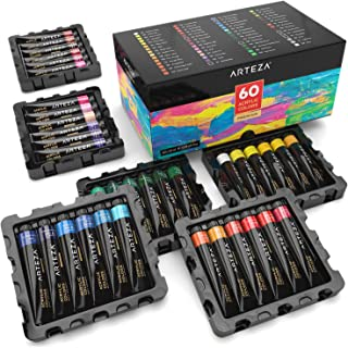 ARTEZA Acrylic Paint, Set of 60 Colors/Tubes (22 ml, 0.74 oz.) Art Supplies Paint Set, Rich Pigments, Non Fading, Non Toxic Paints for Artist, Hobby Painters & Kids, Ideal for Canvas Painting