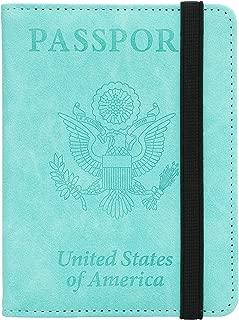 GDTK RFID Blocking Leather Passport Holder Cover Case Travel Wallet Elastic Strap