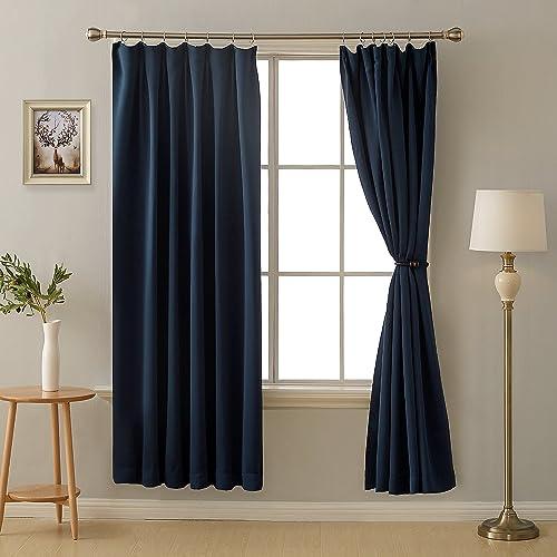 Deconovo 1級遮光 ドレープカーテン 全16色 UVカット 断熱 昼夜目隠し 2枚組 幅100cm丈178cm 紺色