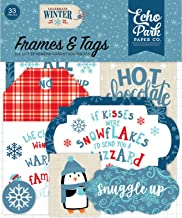 Echo Park Paper Company CW162025 Celebrate Winter Frames & Tags Ephemera, red, Blue, Navy, Green, White