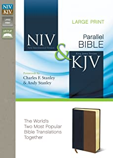 NIV, KJV, Parallel Bible, Large Print, Leathersoft, Navy/Tan: The World`s Two Most Popular Bible Translations Together