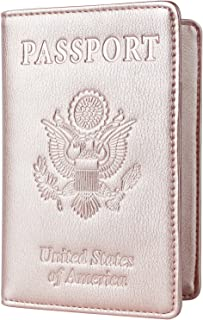 Toughergun Leather Passport Holder Wallet Cover Case RFID Blocking Travel Wallet (nappa rose gold)
