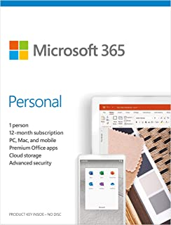 Microsoft 365 Personal - for PC, Mac, iOS and Android, English Subscription, Middle East Version, 1 Year License for 1 Use...