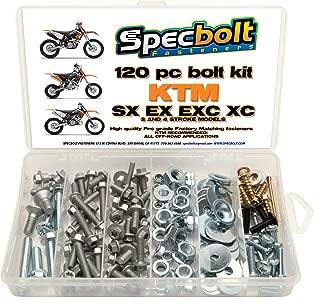 120pc Specbolt Bolt Kit fits: KTM SX EX EXC MX Dirtbike OEM Spec Fastener. This Includes 2 Strokes: 50 60 65 85 105 125 250 300 360 380 550 4 Strokes: 250 350 400 450 500 520 525 530 620 640