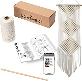 Nghtmrkt Macrame Kit, DIY Macrame Kits for Adult Beginners, Macrame Wall Hanging Kit, 220 Yards Macrame Cord, Wooden Dowel