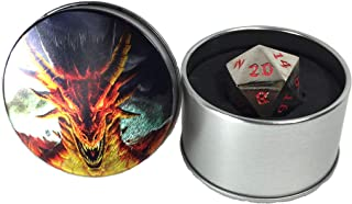 Druid Forge 35mm d20 Dragon Egg dice - Rogue Red - Bright Chrome with Red Numbers