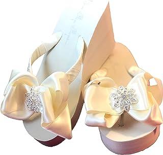 Ivory High Wedge Flip Flops with Rhinestone Vintage Flower Embellishment Satin Bows