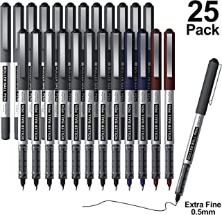 RollerBall Pens, Shuttle Art 25 Pack(21 black 2 blue 2 red) Fine Point Roller Ball Pens, 0.5mm Liquid Ink Pens for Writing...