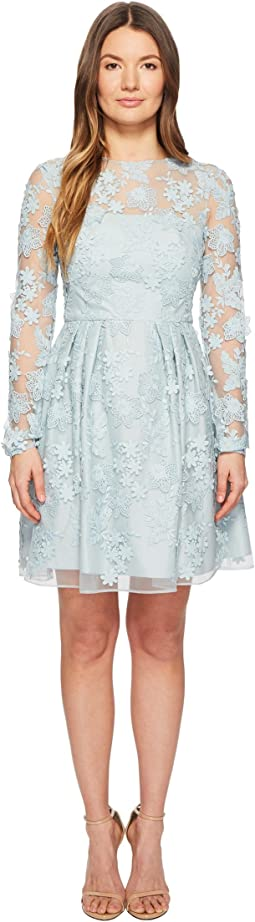 ML Monique Lhuillier - Long Sleeve Lace Tie Waist Dress
