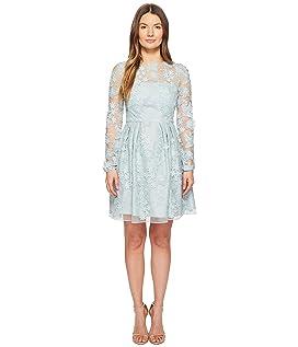 Long Sleeve Lace Tie Waist Dress