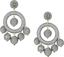 Kenneth Jay Lane - Graduated Silver Thread Wrapped Balls Drops w/ Dome Top Post Earrings