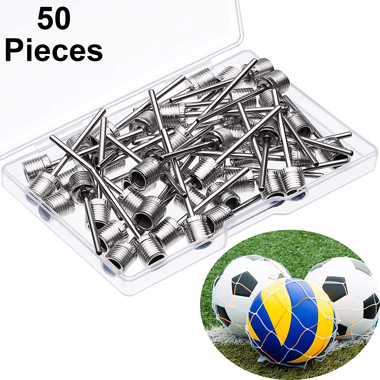 Yaomiao 50 Pieces Ball Pump Needle, Stainless Steel Air Inflation Needle for Sports Balls, Basketball Football Soccer Ball Pump Needle with 2 Net Ball Bag