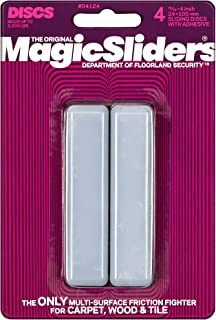 Magic Sliders 4124 Series 4PK 15/16x4 Rect Slider, Grey