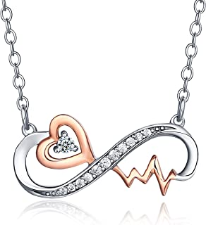 Infinity Collection 14k Rose and White Gold 925 Sterling Silver Cz Cubic Zirconia Heart Heartbeat Anchor Infinity Pendant Necklaces Jewelry for Women's and Mom with Rolo Link Chain, 18+2