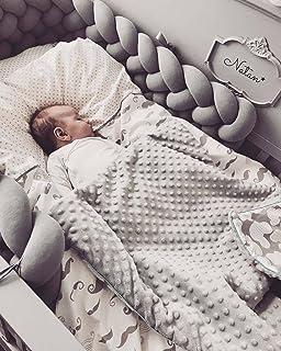 HB.YEベビーベッド ベッドガード?フェンス サイドガード ノットクッション抱き枕 赤ちゃんベッドバンパー 部屋飾り 撮影小物 北欧 癒しアイテム 出産祝い プレゼント (グレー, 2M)