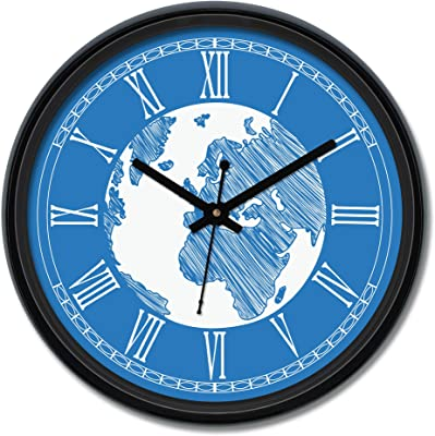 Amazon Brand - Solimo Globetrotter Engineered Wood Wall Clock - (12-inch, Black, Silent Movement)