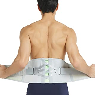 Neotech Care Back Brace - Breathable & Adjustable Support for Lower Back Pain - Double Pulley Compression Straps Lumbar Belt Corset - Grey (Size M)