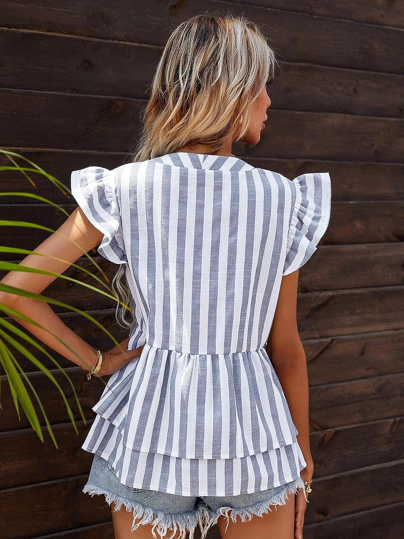 Milumia Women's Striped Button Down Ruffle Hem Peplum Blouse Butterfly Sleeve Shirt Top