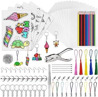 PLULON 194 pièces Kit Plastique thermorétractable, Papier rétractable Vierge, Papier d'art rétractable, perforatrice, Pinc...