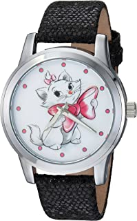 DISNEY Women's Marie Analog-Quartz Watch with Leather-Synthetic Strap, Black, 18 (Model: WDS000349)