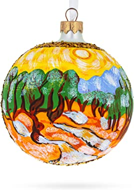 """BestPysanky 1889""""Olive Trees with Yellow Sky and Sun Painting by Vincent Van Gogh Glass Ball Christmas Ornament"""
