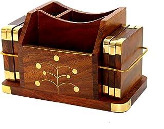 StonKraft Wooden Rosewood Desk Organiser, Coaster/Coasters Set, Pen Stand, Business Card Holder with Brass Work (Office Ta...