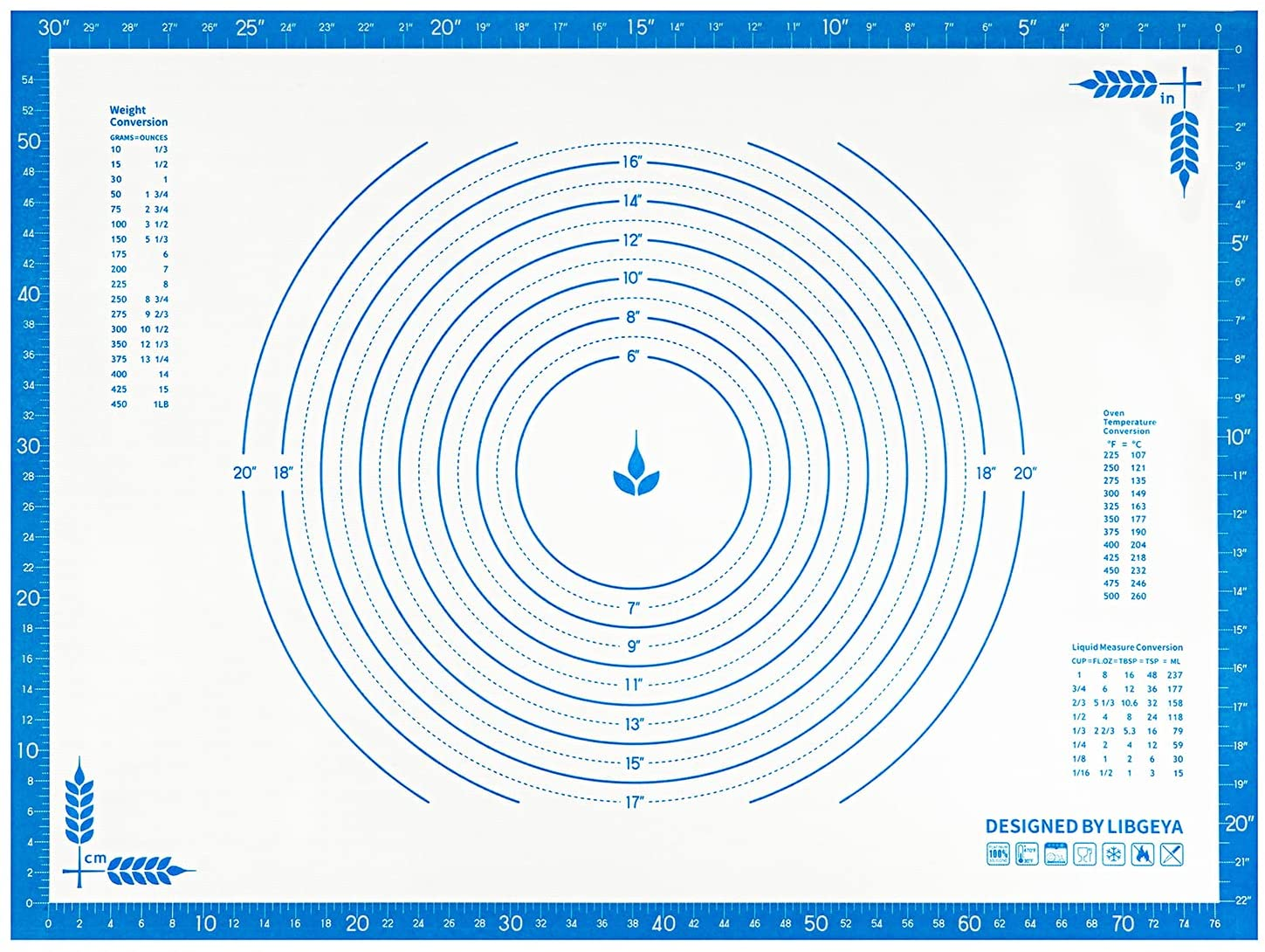 LIBGEYA Silicone Pastry Mat 32 x 24 Large Blue Denver Mall Now on sale Extra Non Inches