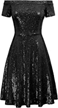 GRACE KARIN Women's Sequin Bridesmaid Dress Short Sleeve Off Shoulder Pleated A-Line Evening Dress