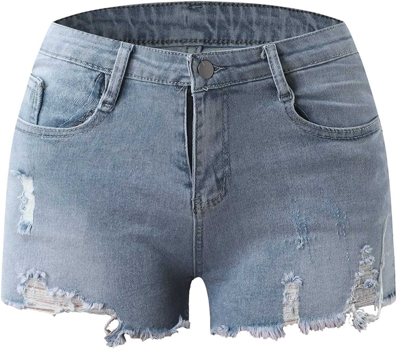 fartey Jean Shorts for Women Jeans Solid Color Blue Denim Shorts with Ripped Pockets