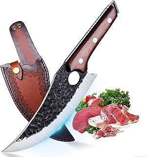 Couteau à Désosser Couteau Viking Couteau avec Etui en Cuir Couteau Extérieur Couteau de Chasse Acier Carboné Couteau de B...