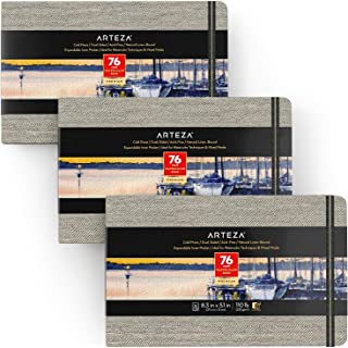 """ARTEZA 5.1x8.3"""" Watercolor Book, Pack of 2, 76 Pages per Pad, 110lb/230gsm, Cold Pressed Paper, Linen Bound with Bookmark ..."""