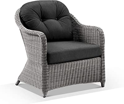Plantation Outdoor Wicker Lounge Arm Chair - Grey Wicker with Denim Grey, Brushed Grey Wicker with Denim - Outdoor Lounges, Outdoor Furniture - Bay Gallery Furniture