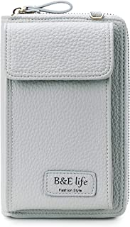 B&E LIFE Small PU Leather Cell Phone Purse Crossbody Phone Wallet Bag Pouch with Zipper for Women Roomy Shoulder Bag Grey Size: Medium