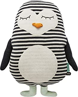 OyOy Mini pingvin pingo kudde tygdjur pingvin – söt baby barn kudde kudde kudde och muskudde beige svart – bomull 41 x 31 ...