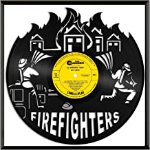 VinylshopUS - Firefighters Vinyl Wall Art with Framed Unique Art Design Gift for Office Room | Fire Fighting Theme Modern Home Decorative
