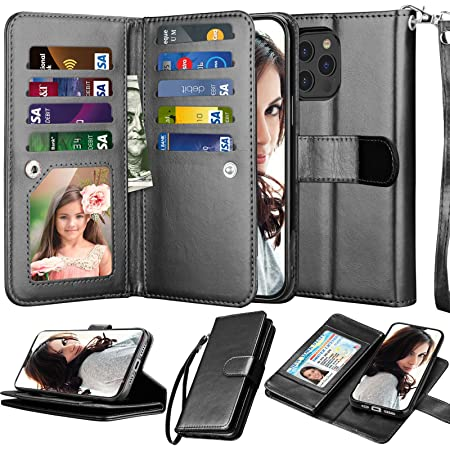 Njjex Compatible with iPhone 12 Case/iPhone 12 Pro Wallet Case 6.1 inch (2020), [9 Card Slots] PU Leather ID Credit Holder Folio Flip [Detachable] Kickstand Magnetic Phone Cover & Lanyard [Black]