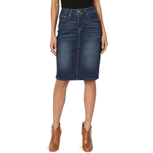f1c0308c82 TheMogan Butt Lift Wash Jean Pencil Knee Length Midi Stretch Soft Denim  Skirt